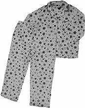 Womens White Fleece Button Top Pajamas Satin Trimmed Gray Snowflake Sleep Set