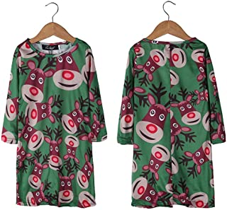 ZCLAU European and American Women's Skirt Autumn Kids Christmas Girls Dress K007 (Color : Green, Size : 120cm)