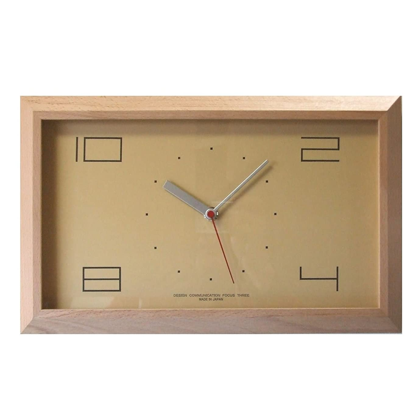 パーティー雨部フォーカス?スリー 置き時計 ナチュラル 横35×縦21.6×奥行4cm