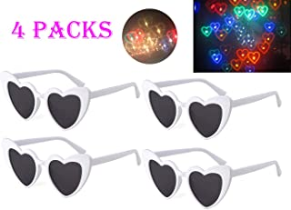 Awaqi 4 Packs Rainbow Hearts Fireworks Diffraction Glasses Special Effect Light for Outdoor Music Party/Bar/Fireworks Displays/Holiday Lights/Club/Concert Lights (White)