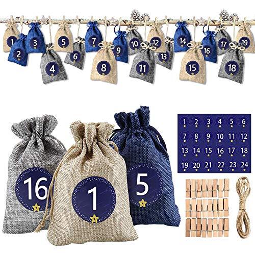 solawill 24 Adventskalender zum Befüllen, Weihnachten Geschenksäckchen mit 1-24 Adventszahlen Aufkleber Stoffbeutel Weihnachtskalender Bastelset für DIY Handwerk Männer Kinder