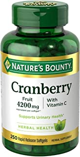 Nature's Bounty Cranberry Fruit 4200mg/Plus Vitamin C 250 Softgels (Pack of 2)
