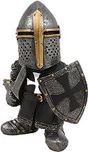 "Gnome Statue Renaissance Medieval Knight of The Cross Templar Crusader Figurine 5.9"" Tall Suit of Armor Miniature Sculptur..."