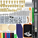 9. 137PCS Wood Burning Kit, PETUOL DIY Creative Tool Set Soldering Pyrography Pen with Adjustable Temperature and Wood Piece for Embossing Carving Tips