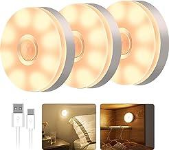T Tersely 3 Pack LED Motion Sensor Light Indoor Wireless LED Closet Lights , USB Rechargable Night Light Step Light Cabine...