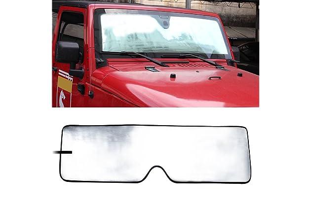 Front Windshield Sunshade Sun shade for 2007-2017 Jeep Wrangler JK MINGLI  Heat Shield Windshield Custom-fit Sunshade Sun Visor Mat e9015b0708f