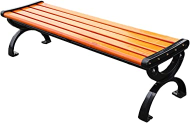 Wood Garden Bench 2 Seater, 120cm Outdoor Furniture Seating Wooden Slats Metal Legs Bench for Park Patio Balcony, Without Bac