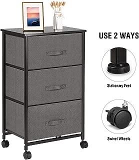 Vanspace Vertical Dresser Storage Tower 3-Drawer Storage Cabinet Nightstand On-Wheels, Adjustable Feet & Rolling Wheels, Wood Top, Easy Pull Fabric Bins - Organizer Unit for Bedroom, Hallway, Enterway