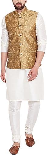 Royal Sojanya Hommes's Jackquard Silk Designer Nehru veste XX-grand or