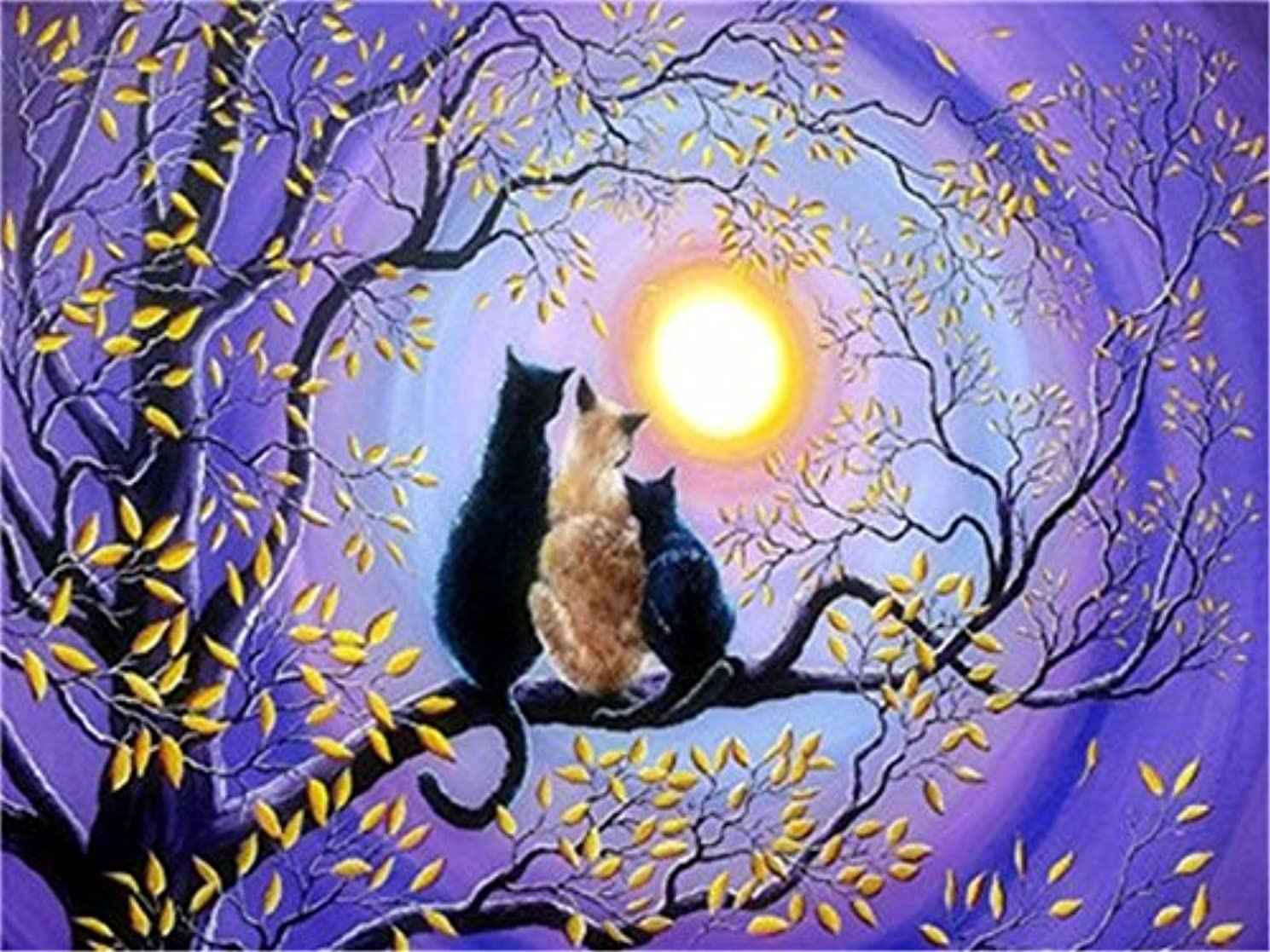 Diy Oil Paint by Number Kit for Adults Beginner 16x20 inch - Tree Cats and Purple Sky, Drawing with Brushes Christmas Decor Decorations Gifts (Frame)