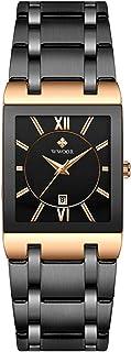 Festnight Men Fashion Rectangular Dial Analog Quartz Watch Business Waterproof Calendar Stainless Steel Band Wrist Watch
