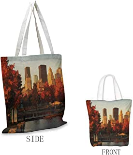 City Exquisite shopping bag Old Port of Montreal Early in the Morning Scenic Autumn Trees Buildings Canada Foldable shopping bag W15.75 x L13.78 Inch Red Orange Brown