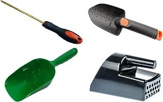 Metal Detecting and Treasure Hunting Tool Kit #2 BLACK Sand Scoop, Hand Trowel, Super Scooper, and Brass Probe