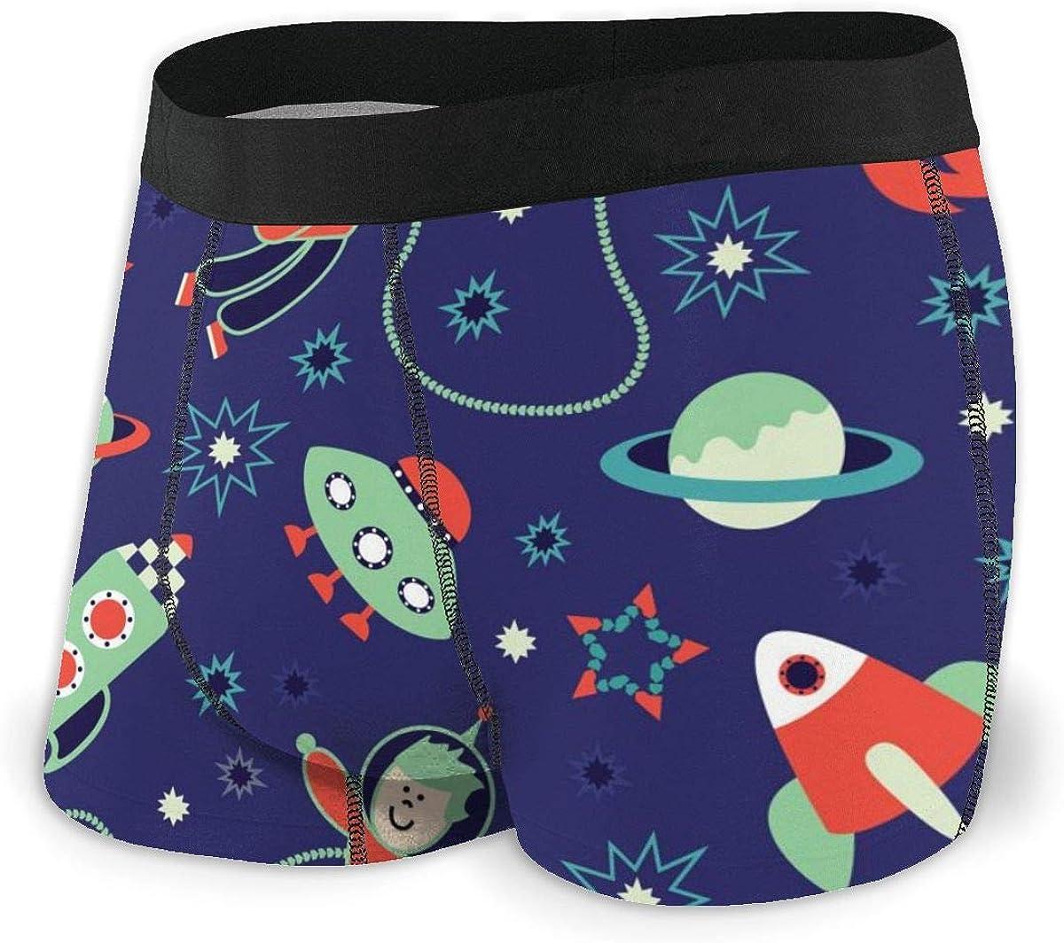 Randolph Wordsworth Mens Boxer Briefs Spaceships and Astronauts Nave Blue Breathable Underwear