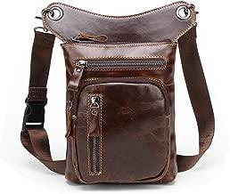 Langzu Men's Leather Motorcycle Waist Pack Leg Bag Rig Bike Cycling Hiking Thigh Bag Messenger Shoulder Bag (Brown-2)