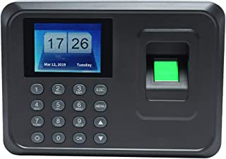 KKmoon Intelligent Biometric Fingerprint Password Attendance Machine Employee Checking-in Recorder 2.4 inch TFT LCD Screen DC 5V Time Attendance Clock