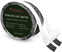 Holotap Sticky Back Hook and Loop Tape Roll 1 Inch x 32 Feet Self Adhesive Fastener Strips Mounting Tape (1 Inch Black)
