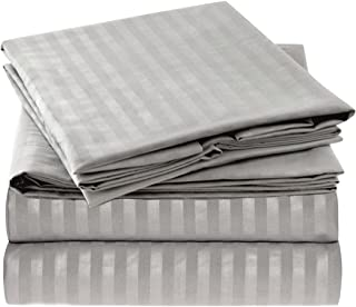 Ideal Linens Striped Bed Sheet Set - 1800 Double Brushed Microfiber Bedding - 4 Piece (Queen, Gray / Silver)