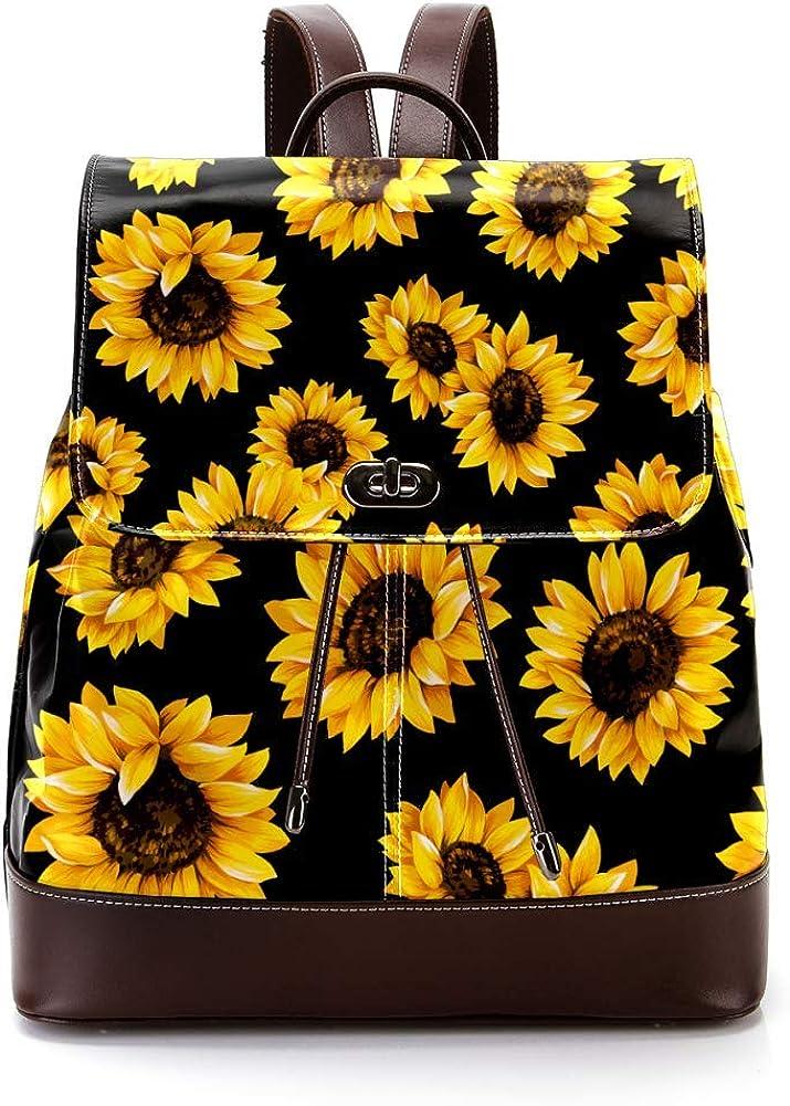 Sunflowers In Black Background PU Leather Backpack Fashion Shoulder Bag Rucksack Travel Bag for Women Girls