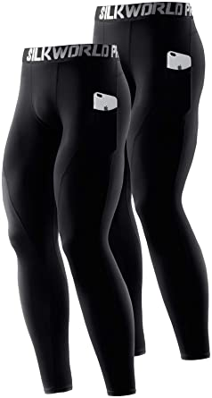 SILKWORLD Men's 1~3 Pack Compression Pants Pockets Cool Dry Gym Leggings Baselayer Running Tights
