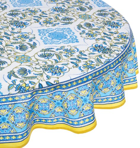Mahogany Mumtaz Printed Round Tablecloth, 70-Inch, White