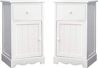 Illuminer La Maison Une Paire de Tables de Chevet, Tables de Nuit en Bois Blanc, Style Shaker, 1 Tiroir + 1 Casier + 1 Por...