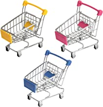 1//8 Scale Market Shopping Cart Metal Miniature Replica Toy Grocery Trolley Wagon