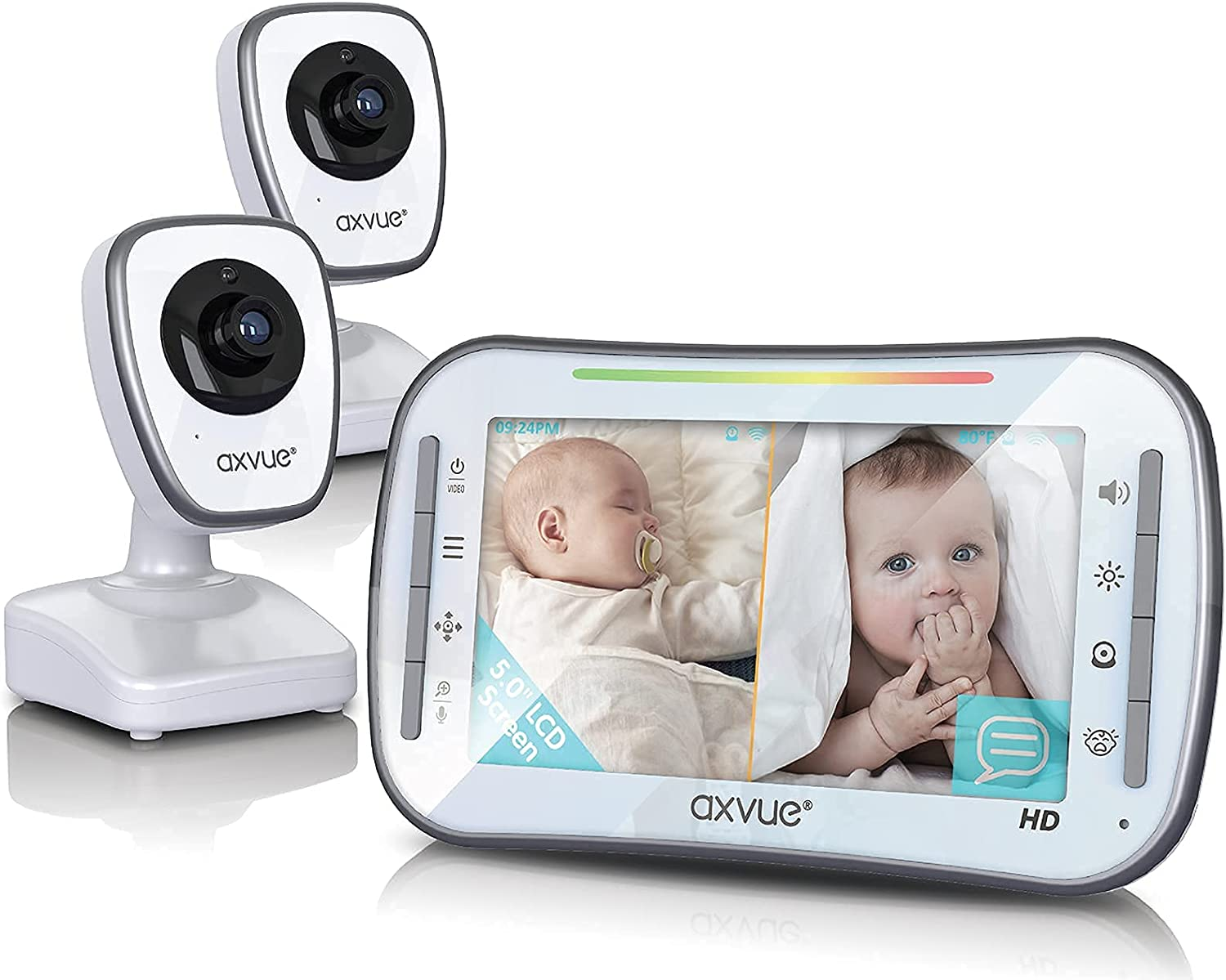 """[HD] Video Baby Monitor, AXVUE 720P 5"""" HD Display, IPS Screen, 2 HD Cams, 20-Hours Battery Life, 1000ft Range, 2-Way Communication, Secure Privacy Wireless Technology"""