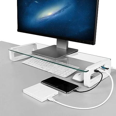 Support de Moniteur Rehausseur Écran avec 4 Ports 3.0 Hub USB Support Ordinateur Lever PC Stand en Verre Trempé, Organisateur de Bureau avec Câble USB pour Moniteur PC TV Ordinateur Portable Tablette