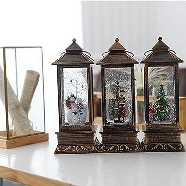 Zxqiang Music Retro Wind Lantern, Night Light Led,Santa Claus,Christmas Snowman, Christmas Decoration,desktopornaments(10.510