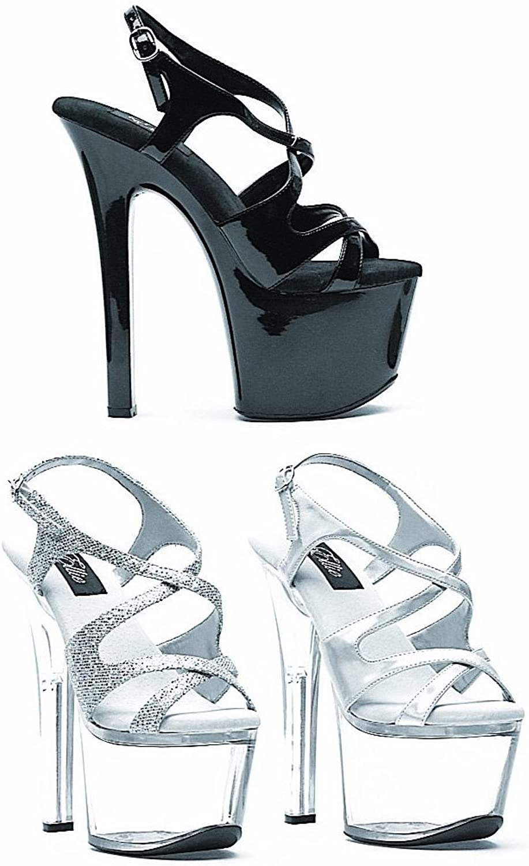 Women's 7 Inch Heel Silver Glitter Sandal