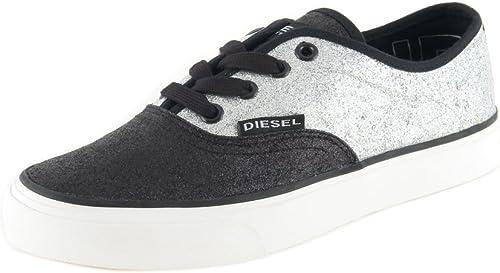 DIESEL paniers Femme Chaussures à Lacets Chaussure Noire Argent  9