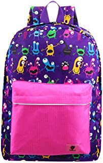 Backpacks for Little Girls, Boys, Kids by Fenrici, 16 Inch Book Bags with Water Bottle Pocket for Preschooler, Kindergartener, Support a Great Cause, Pink Cute Monster (Pink)