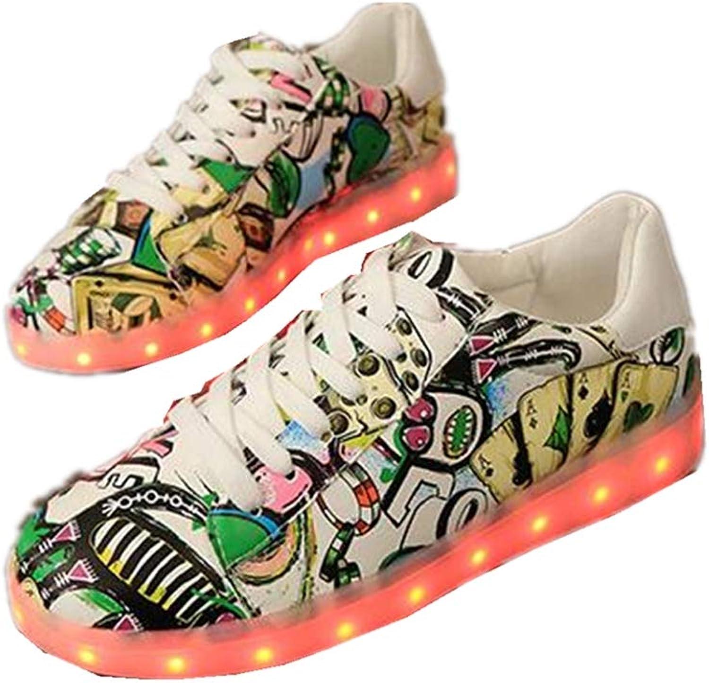 LUOBM LED Fluorescent shoes Wild colorful Couple Luminous shoes Ghost Dance shoes