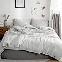 Simple&Opulence 100% Washed Linen Duvet Cover Full-3 Pcs Solid Natural Flax Bedding Set(1 Comforter Cover+ 2 Pillowcases)-...