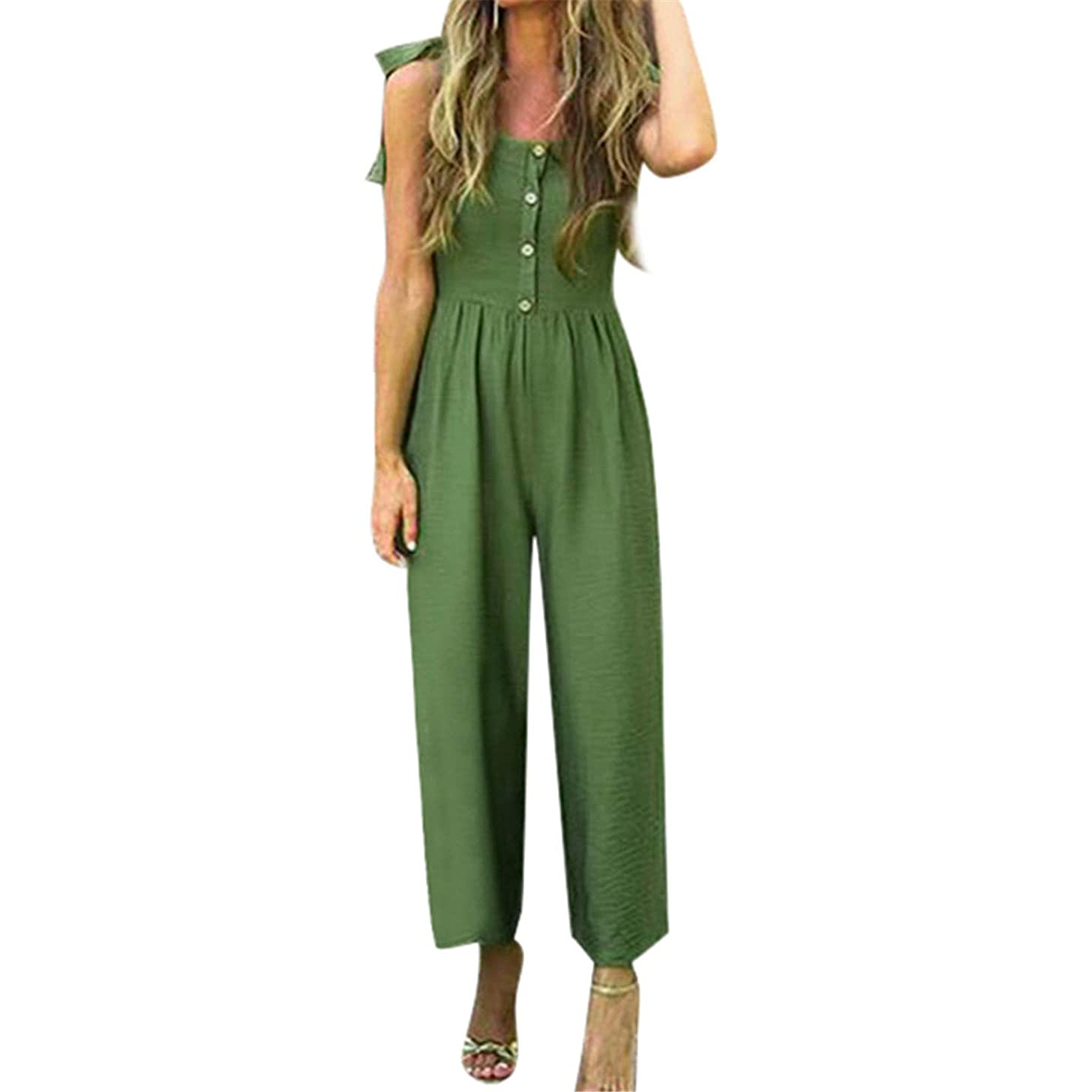 Thenxin Women Beach Jumpsuit Sleeveless Tie Knot Shoulder Strap Solid Button Wide Leg Pant Rompers