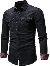 Realdo Men's Autumn Winter Vintage Distressed Solid Denim Long Sleeve Button Down T-Shirt Top Cardigan