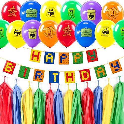 Pompón Guirnalda Estandartecolorido Bloque De Construcción Tema Decoraciones De Fiesta De Cumpleaños Set Feliz Cumpleaños Banner Globos De Látex Ladrillos Para Niños, China