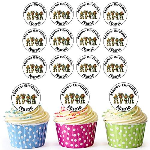 Teenage Mutant Ninja Turtles TMNT 24 Personalisierte Vorgeschnittene Kreise - Essbare Cupcake Aufleger / Geburtstagskuchen Dekorationen