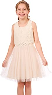 Truly Me, Big and Little Girls' Skater Scuba Dress with One-of-A-Kind Artwork and Rhinestone Embellishments, Size 4-6X, 7-16