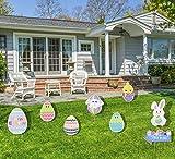 PIXHOTUL 8 pezzi di decorazioni per cantiere pasquali uova di Pasqua, coniglietto, pulcino ondulato, decorazione per cortile con paletti per pasquali, caccia alle uova, gioco per feste (A)