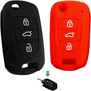 KEMANI Lots 2pcs Silicone Cover Skin Jacket Holder Chain Bag Key Fob Case For Flip Kia