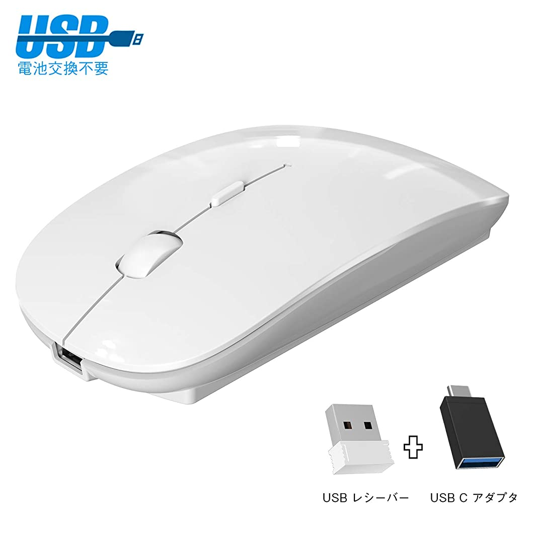 不明瞭典型的な売り手ワイヤレスマウス 静音 薄型 無線マウス 充電式 3DPIモード 2.4GHz 光学式 高感度 type-C変換アダプタ付属 USB Windows Mac対応 TELEC認証取得済み ホワイト