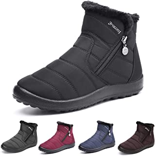 gracosy Warm Snow Boots Outdoor for Women Winter Fur Lining Shoes Anti-Slip Lightweight Ankle Bootie Waterproof Slip on Sneakers