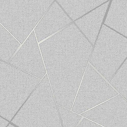 Fine Decor Wallcoverings FD42280 Fractal Quartz, Plata