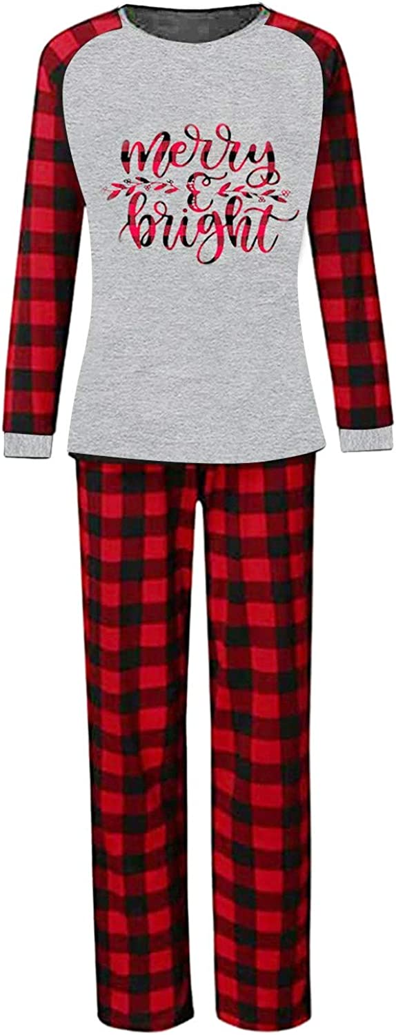 Matching Family Christmas Pajamas Letter Women Manufacturer direct delivery M Plaid depot Pjs Print
