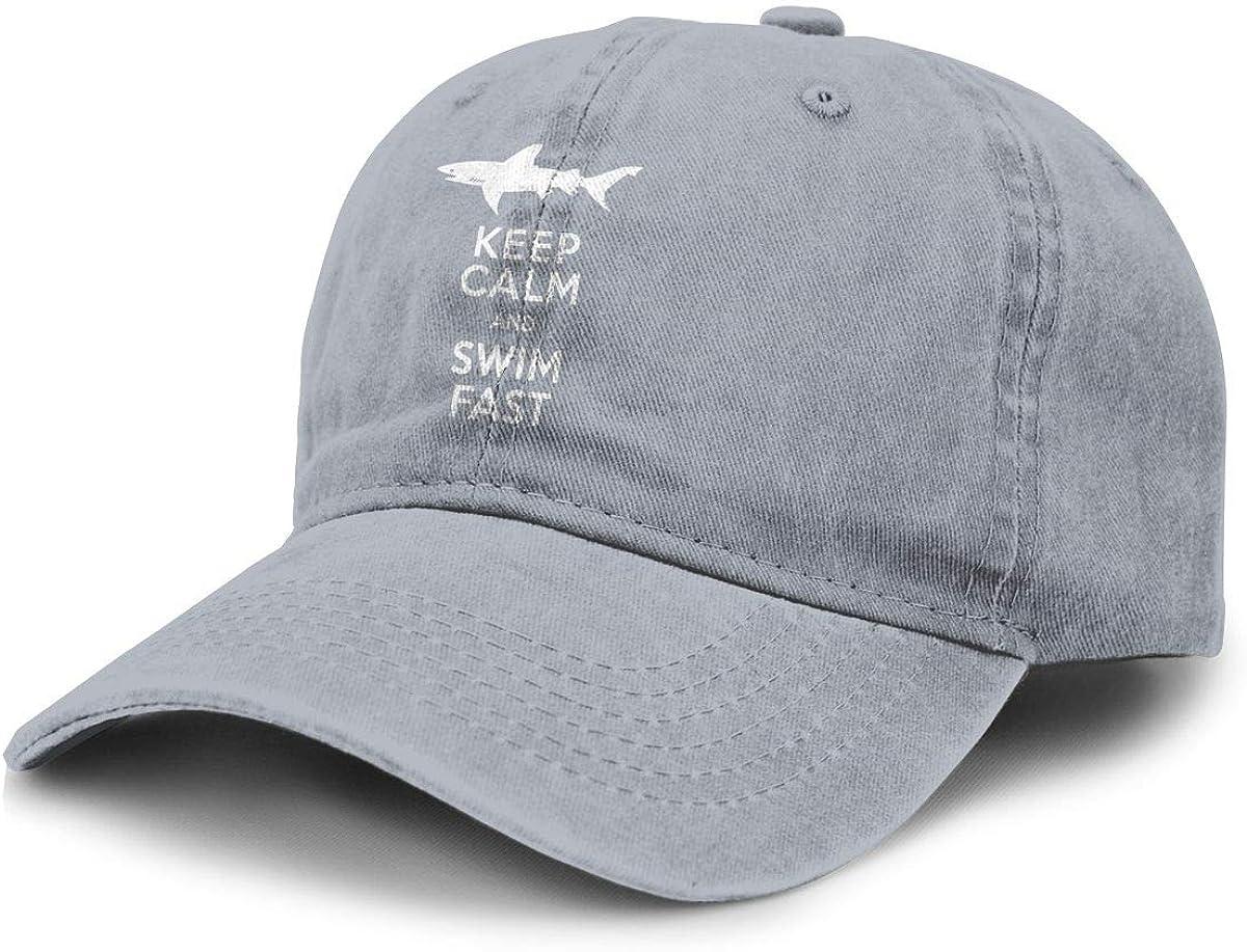 WAY.MAY Keep Calm and Swim Fast Adjustable Cowboy Hats Denim Dad Hat Baseball Cap