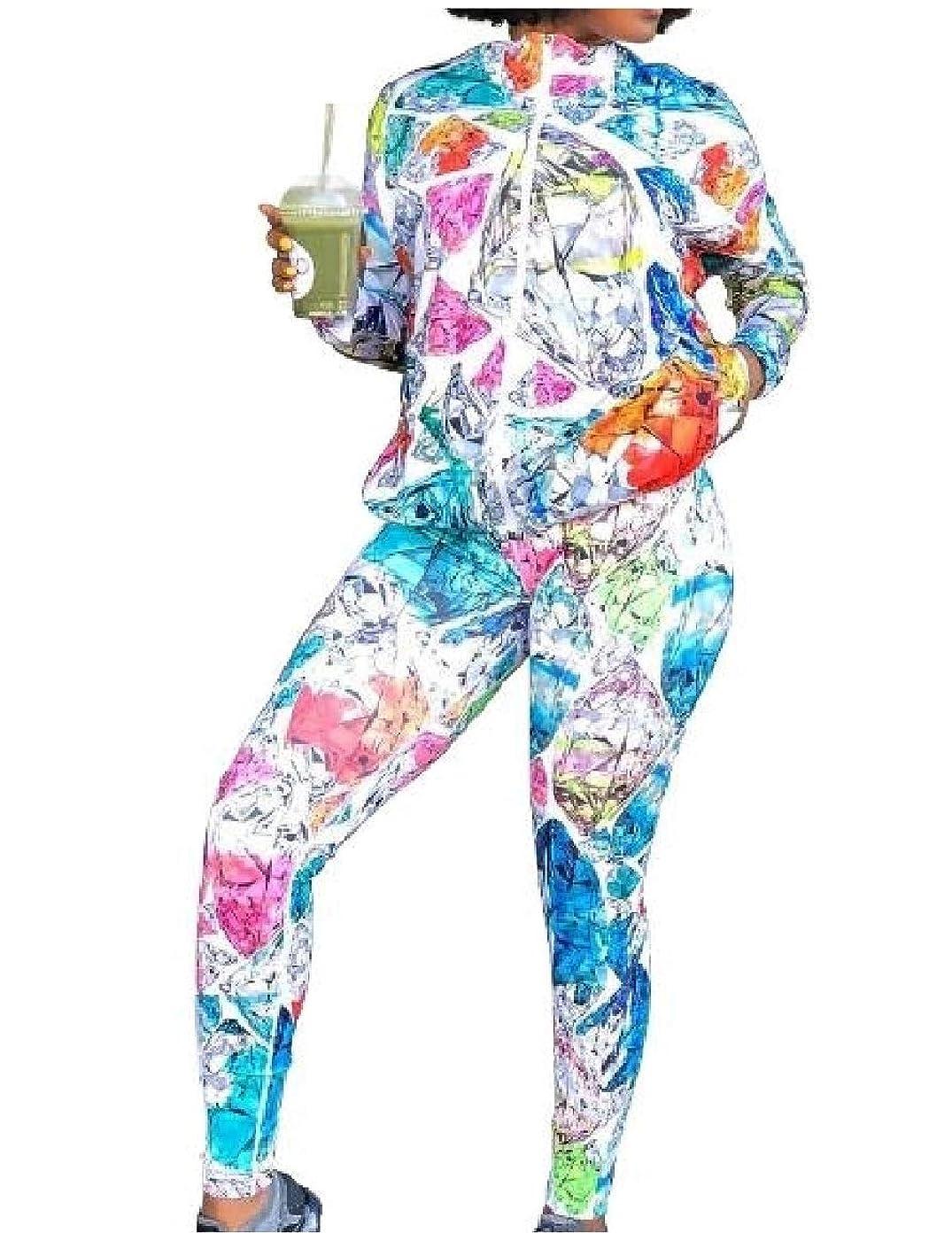 スタウト固める例外Romancly 女性のカラフルな染めグラフィティプリントアスレチック2ピーストラックスーツの衣装