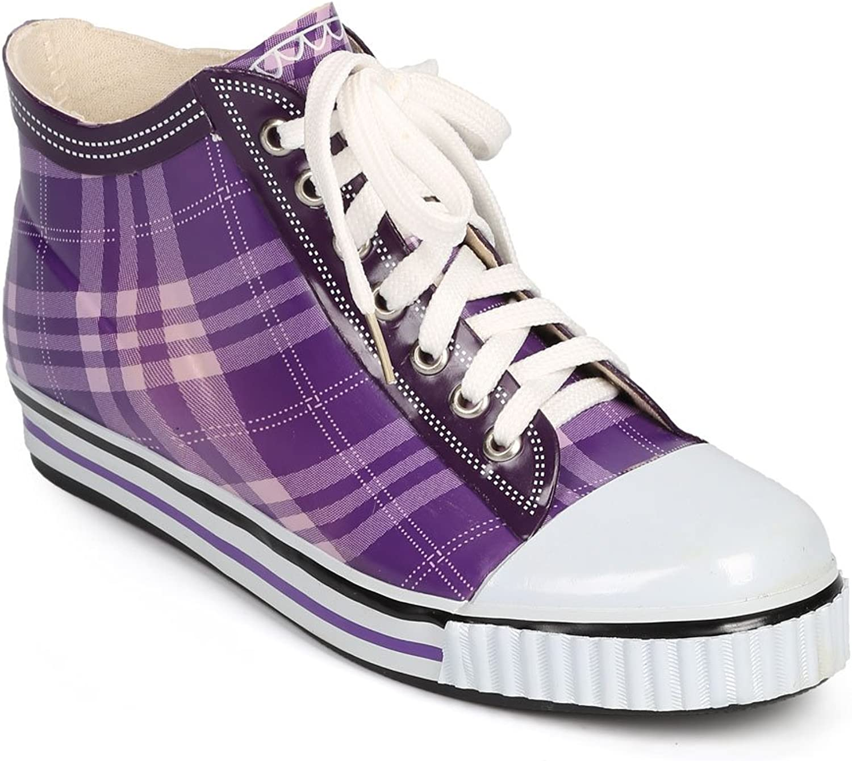 Misbehave Women Jelly Plaid Cap Toe Classic Pull On Rain Sneaker DI72