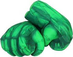 Hulk Gloves Hulk Smash Hands Toy Fists Big Kids Soft Plush Boxing Training Gloves Superhero Cosplay Costume Gift for Children Boy Girl Christmas Birthday (1 Pair)